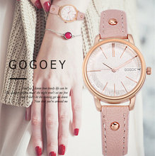 цены на Gogoey Watch Womens Watches Fashion Leather Band Quartz Wristwatch Ladies Watches Bayan Kol Saati Relogio Feminino montre femme  в интернет-магазинах