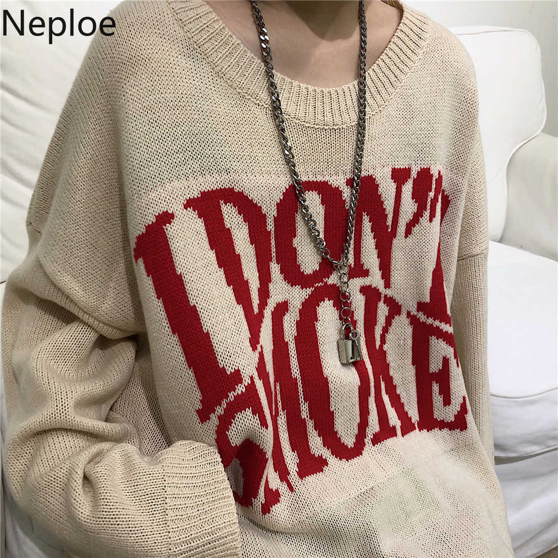 Neploe Harajuku Streetwear lettres Jacquard Pull 2020 automne hiver épaissir Pull Femme à manches longues femmes hommes pulls 56502