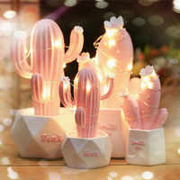 Ins Cactus LED Table Lamp Pink Cute Girl Heart Dream Star Lamp Small Creative Night Light Bedroom Decoration Children's Gift