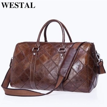 WESTAL Men's Travel Duffel Bag Genuine Leather Big Weekend Bags Large Totes Overnight Carryon Hand Bag Travel Bags Luggage 8883