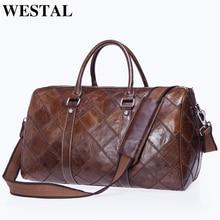 WESTAL große reisetasche gepäck wasserdichte tasche aus echtem leder duffle taschen zip koffer reisen totes große/wochenende taschen 8883