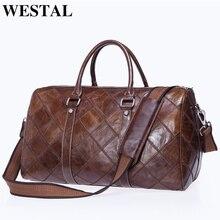 WESTAL large travel bag luggage waterproof bag genuine leather duffle bags zip suitcase traveling totes big/weekend bags 8883