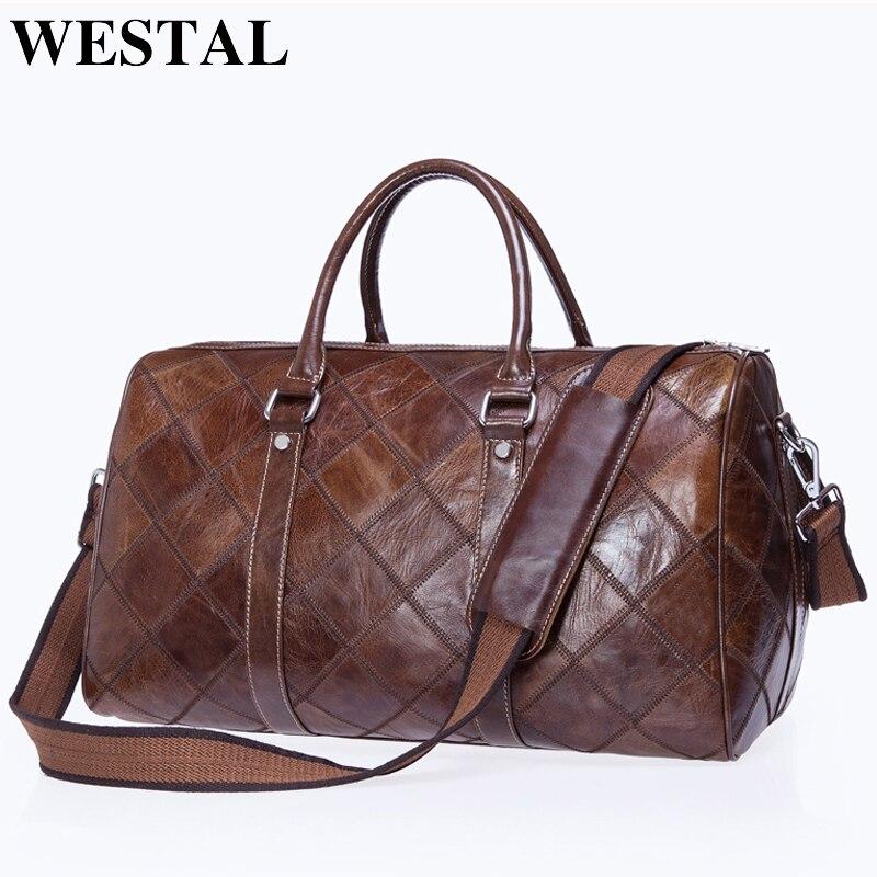 WESTAL Mannen Bagage Reistassen Echt Lederen Plunjezak Koffer En Travel Tote Handbagage Tassen Grote/ Weekend Tassen 8883