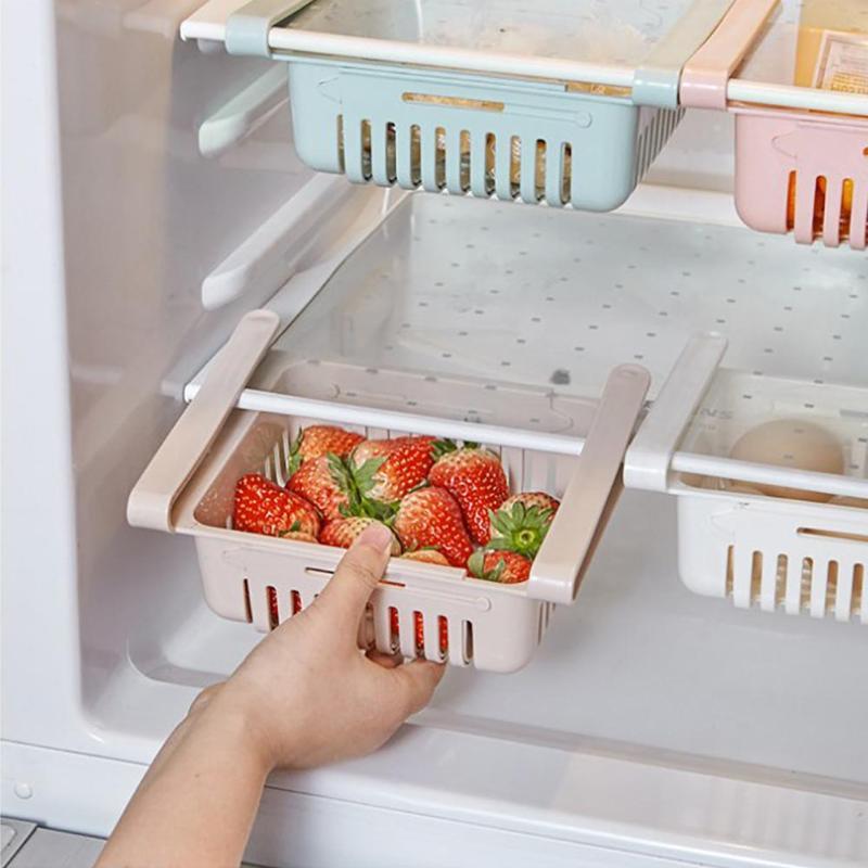 Adjustable Kitchen Refrigerator Storage Rack Fridge Freezer Shelf Holder Pull-out Drawer Rack Holder Space Saver