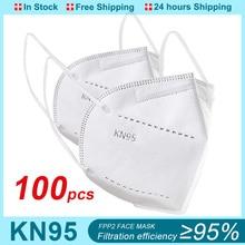 100PCS FFP2 Mask Mouth Mask Caps Respirator 5-Layer Filter Anti-Fog Protective Mascarillas