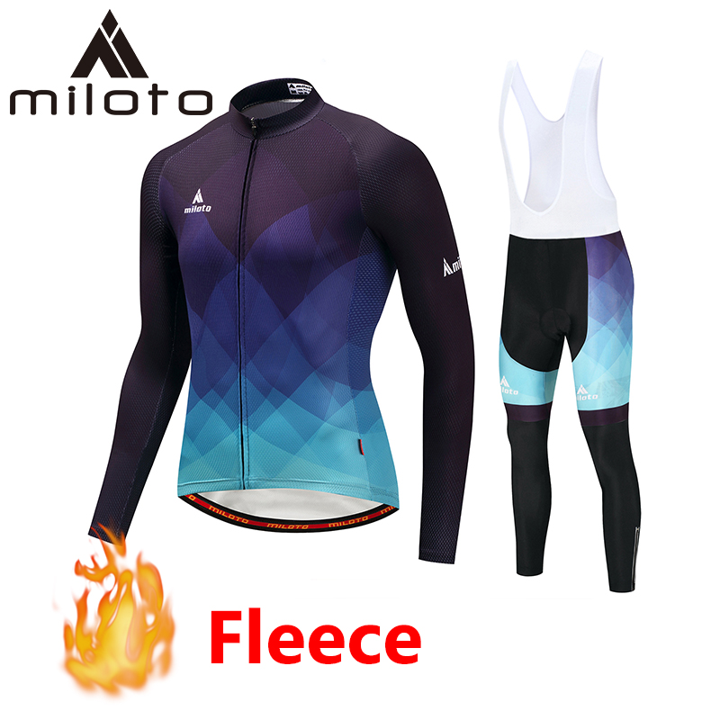 MILOTO Winter Cycling Clothing Maillot Ciclismo Thermal Fleece Long Sets 2019 Men Mountain Bike Suits Racing Riding Bicycle Sets