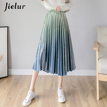 Jielur Winter Gradient Color Pleated Skirt Female Korean Fashion Pleuche Women Skirts High Waist Elegant Retro Long Faldas S-XL