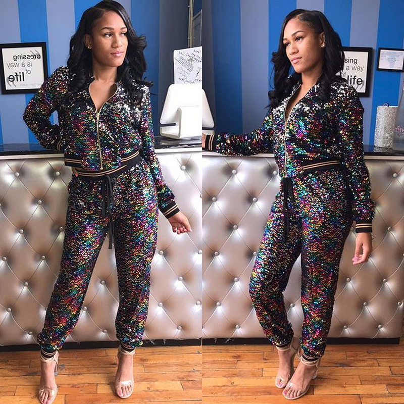 Autumn Winter Women Two Piece Set Full Sequin Bomber Jacket + Pant Suit Casual Outfits 2 Piece Matching Sets Gradient Tracksuit