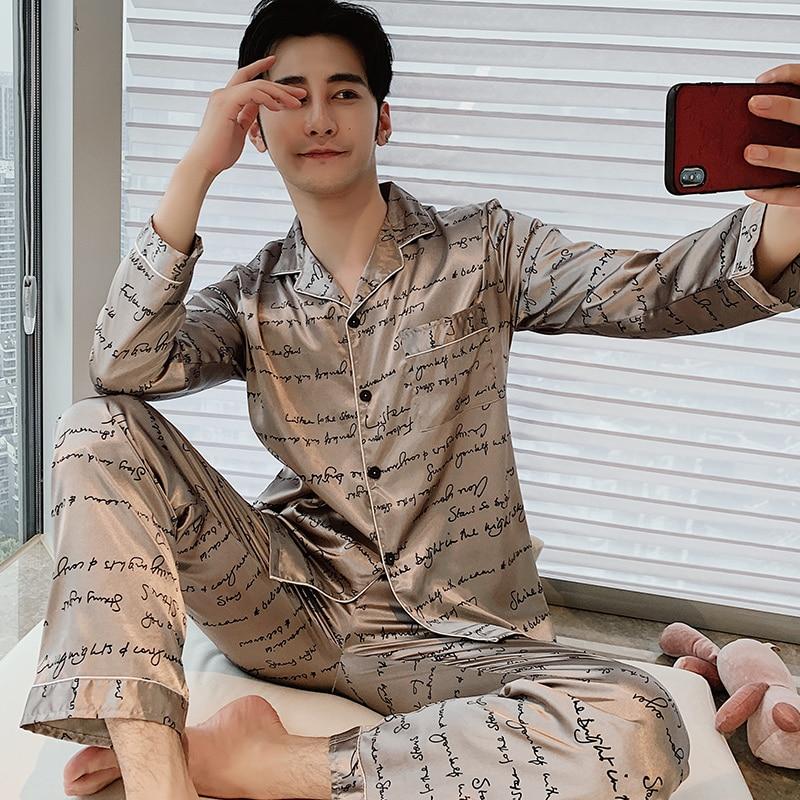 Spring Autumn Men Satin Silk Pajamas Sets Of Long Sleeve Trousers Male Pyjamas New Sleepwear Leisure Home Clothing Pijama Hombre