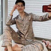 Primavera outono homens cetim de seda pijamas conjuntos de manga longa calças masculinas pijamas novos pijamas lazer casa roupas hombre