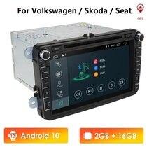 Android 9.0 นำทางมัลติมีเดียสำหรับที่นั่ง Altea Skoda Volkswagen Polo Touran Passat Golf Amarok กระต่าย TPMS USB DPS