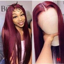 Burgundy 99J 13*6 Deep Part Lace Front Human Hair W