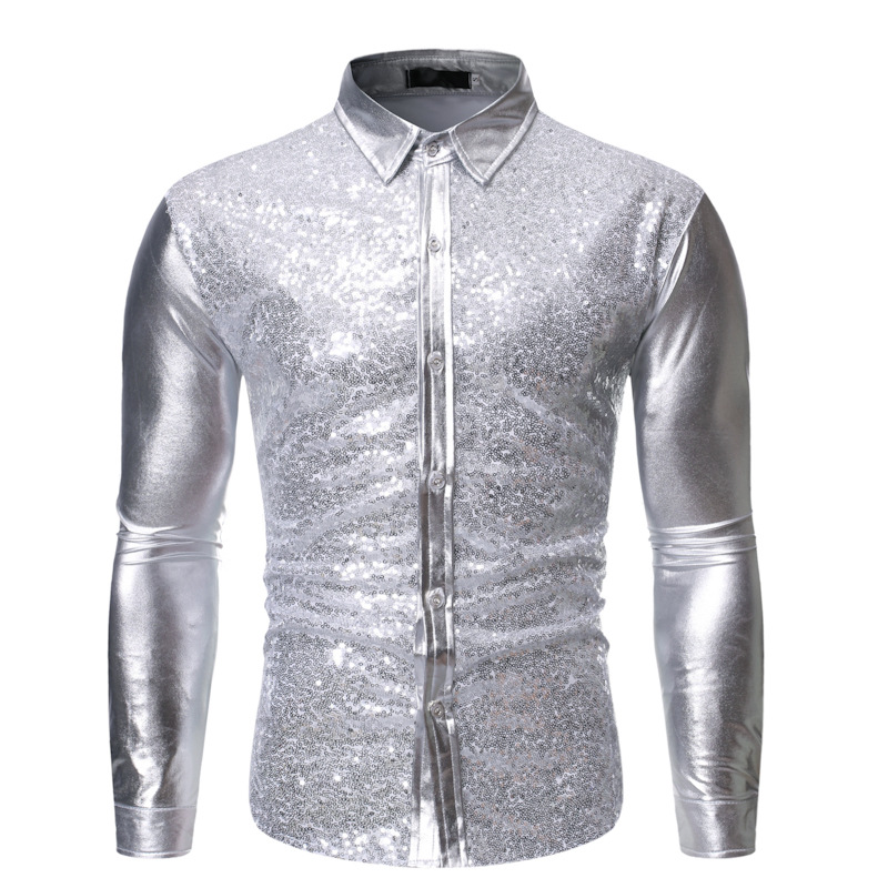 Shiny jacket, shirt, stage costume, men's shirt, gold, silver apparel, garment.clothes.