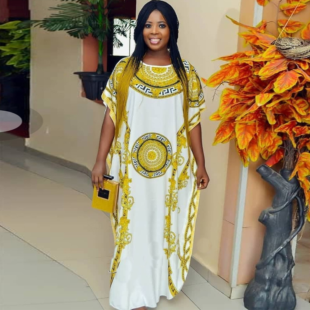 African Print Long Dashiki Dress Batwing Sleeve Plus Size Ladies Casual Maxi Dress Women Clothing Fashion Robe Africaine Femme