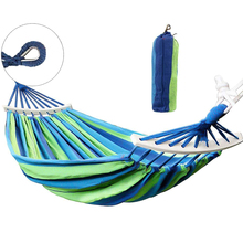 HooRu Outdoor Garden Hammocks Camping Portable Wooden Canvas hammock Swing Picnic Travelling Hanging Bed Furniture with Backpack