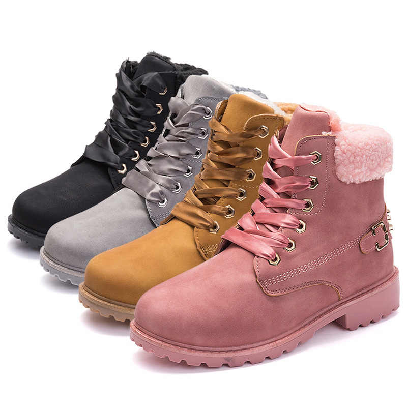 Women Boots Lace Up Casual Ankle Boots Round Toe PU Leather Motocycle Boots Women Shoes Winter Warm Snow Boots Pink Botas Mujer
