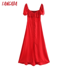 Tangada 2020 fashion women solid red cotton dress short sleeve strethy ladies el
