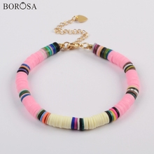 BOROSA 10PCS Boho Colorful Bracelets Polymer Clay Beads Fimo Slices Plastic Thin Disc Elastic String Handmade Bracelet HD0090