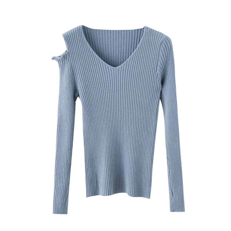 Korean Style V-neck Long Sleeve Off The Shoulder Sweater Fashion Sexy Solid Color Women's Knit Pullover Women Sweaters