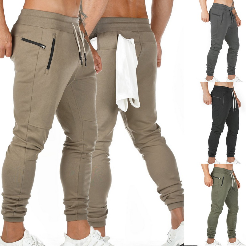 2020 Men Sportswear Drawstring Waist Sports Trousers Gym Joggers Pants Zipper Pockets Sweatpants Track Pants Running
