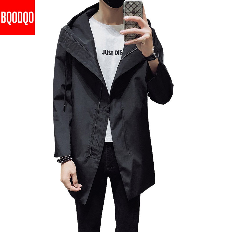 Thin Casual Long Trench Coat Men Autumn Korean Style College Jacket And Coats Black Japanese Streetwear Oversized Men's Jackets