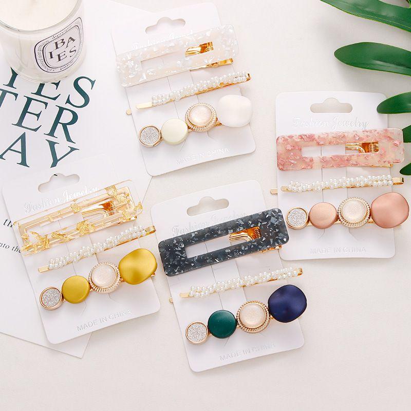 New 3PCS/Set Fashion Pearls Acetate Geometric Hair Clips For Women Girls Headband Sweet Hairpins Barrettes Hair Accessories Set