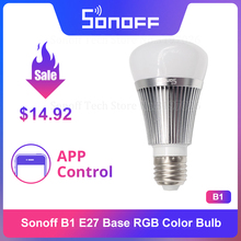 Itead Sonoff B1 Dimmable LED Wifi lumière intelligente E27 ampoule télécommande APP contrôle Via android et IOS eWeLink travailler avec Google Home Alexa