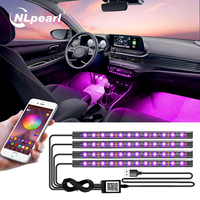 Nlpearl-luces LED RGB para Interior del coche, iluminación ambiental con USB, aplicación remota inalámbrica, Control de música, múltiples modos, Lámpara decorativa