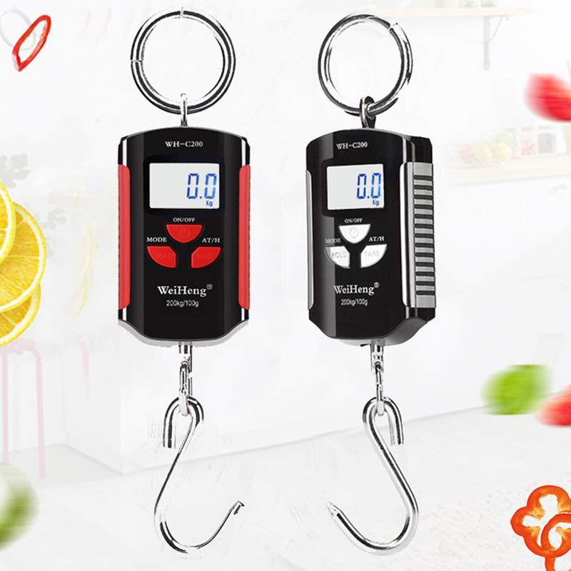 <font><b>200kg</b></font>/441lb Portable Mini <font><b>Digital</b></font> <font><b>Scale</b></font> LCD Display Luggage Heavy Crane Hanging Hook <font><b>Scale</b></font> Pocket Weight Pig Sheep image