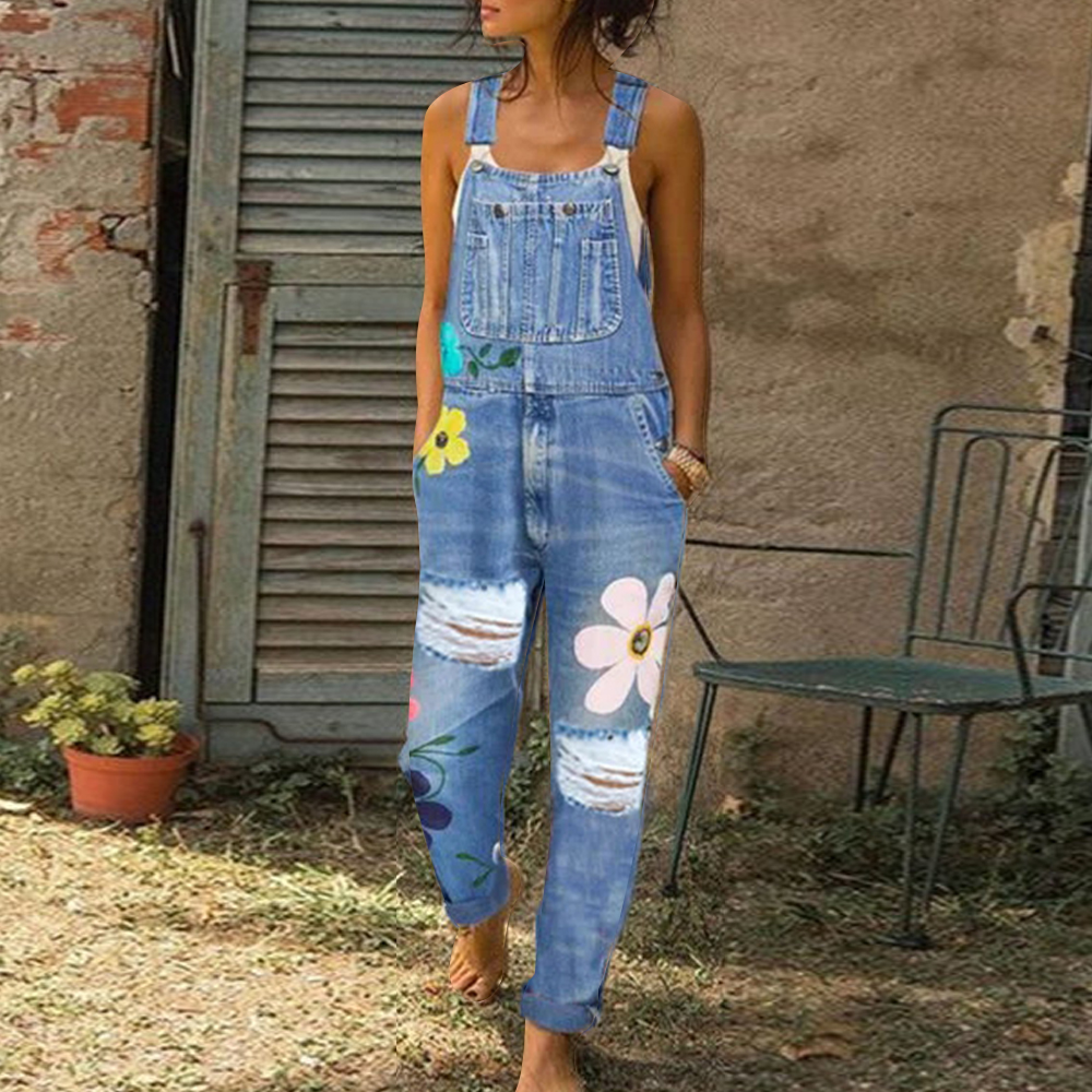 Women Denim Jumpsuit Sleeveless Overalls Floral Pant Long Trouser Frayed Jeans Women Romper Women Jumpsuits High Waist Jeans
