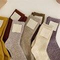 Женские кашемировые носки, однотонные утепленные вязаные носки средней длины в Корейском стиле для сна и пола, Осень-зима 15%