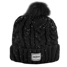 Women Girl Pom Pom Beanie Warm Knitted Bobble Kids Fur Pompom Hat Ladies Fur Winter Warm Windproof Hat Black Wool Skullies Cap цены