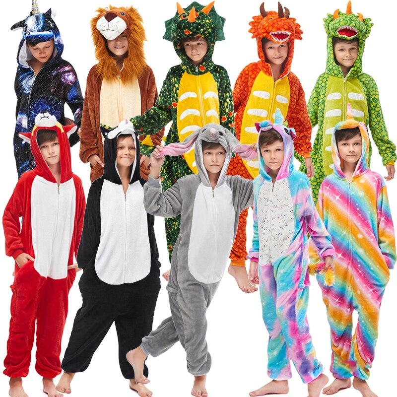 New Winter Unicorn Pajamas For Children Animal Pyjamas Kids Panda Stich Onesie Boys Girls Sleepwear Unicornio Jumpsuit