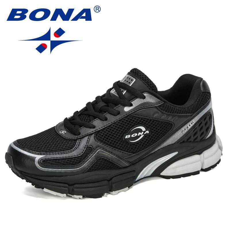 BONA 2020 New Designers Action Leather Mesh Light Running Sport Shoes Men Zapatillas Hombre Deportiva Man Sneaker Sports Shoes