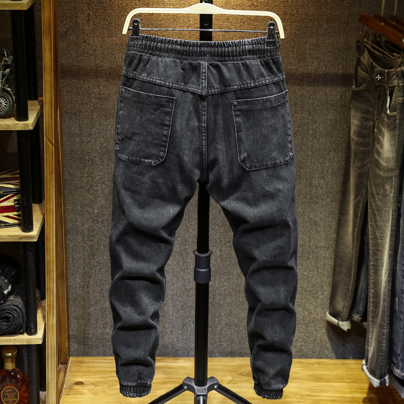 Men's Jeans Black Streetwear Waist Tie Pants Jeans Men Slim Fit Cargo Pants Homme Plus Size Pants Oversized Pants 5XL 6XL 7XL