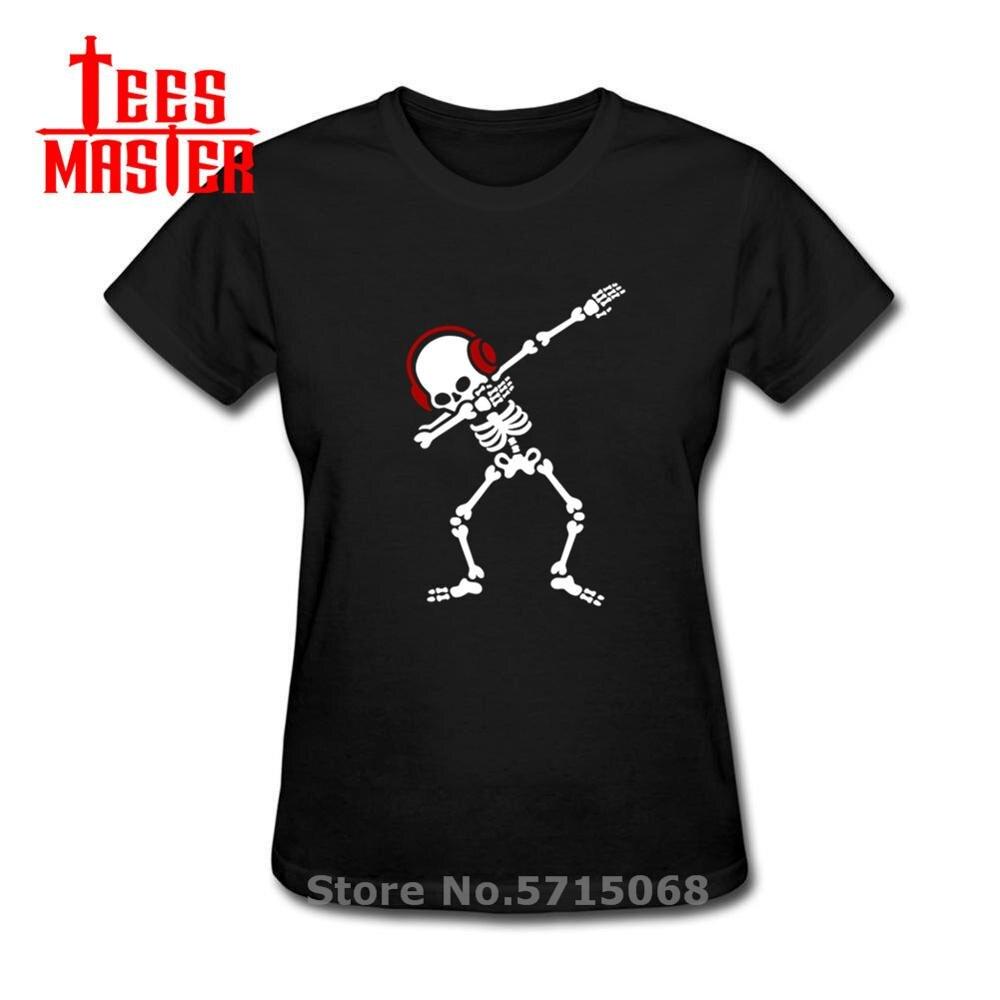 Skelton dab t camisa mulher dabben fones de ouvido música camiseta rock n rolo camisa de manga curta heavy rock morte metal retro