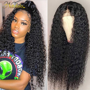 Nadula Hair 4*4 Lace Closure Wig Curly Human Hair Wigs 180% /150% Lace Wig With Baby Hair Natural Color Remy Hair Pre Plucked(China)