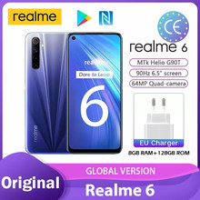 Realme 6 play store nfc 4gb 128gb versão global helio g90t 6.5