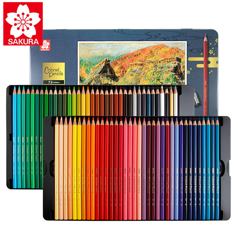 Japan Sakura Oily Color Pencil Set 24/36/48/60/72 Color XPY36 Beginner Student Hand-painted Fine Art Professional Painting Penci