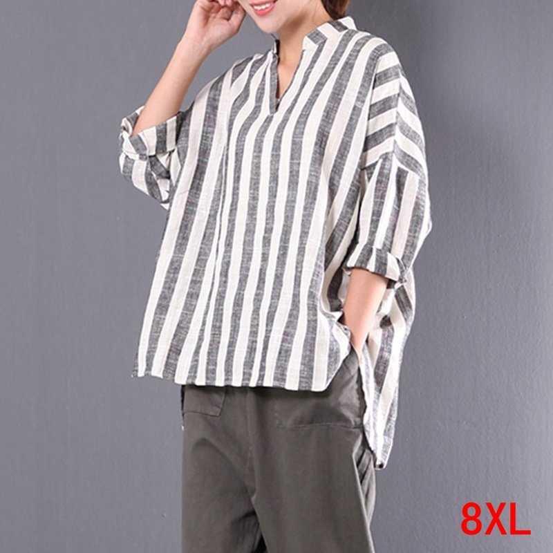 큰 사이즈 여성 셔츠면 및 린넨 스트 라이프 플러스 사이즈 5XL 6XL 7XL 8XL 여름 여성 v 넥 긴팔 루스 화이트 탑
