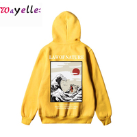 2019 Winter Men/Women Sweatshirt Hip Hop Japan Style Embroidery Funny Cat Hoodies Wave Printed Fleece Casual Streetwear