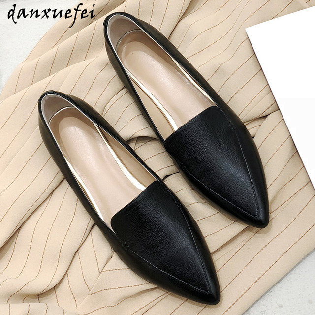 $ US $39.96 Women's genuine leather slip-on flats leisure soft comfortable espadrilles pointed toe casual daily high quality shoes for women