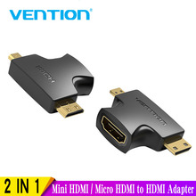 Vention-Mini adaptador HDMI / Micro HDMI a HDMI 2 en 1 3D 1080P macho a hembra para Monitor de TV, proyector, cámara