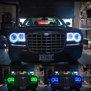 Ultra bright 5050 SMD Multi-Color RGB LED Angel Eyes Kit with remote control For Chrysler 300C 2004 2005 2007 2008 2009 2010