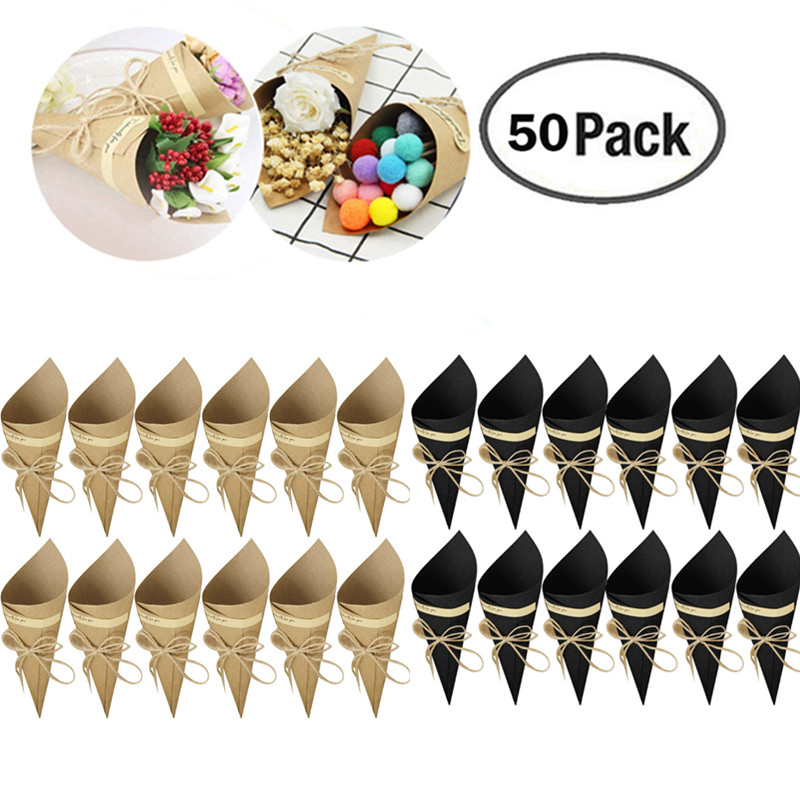 50Pcs Folding Kraft Paper Confetti Cone Bouquet With Hemp Ropes Candy Boxes Wedding DIY Decoraion Gifts Packing Party Supplies