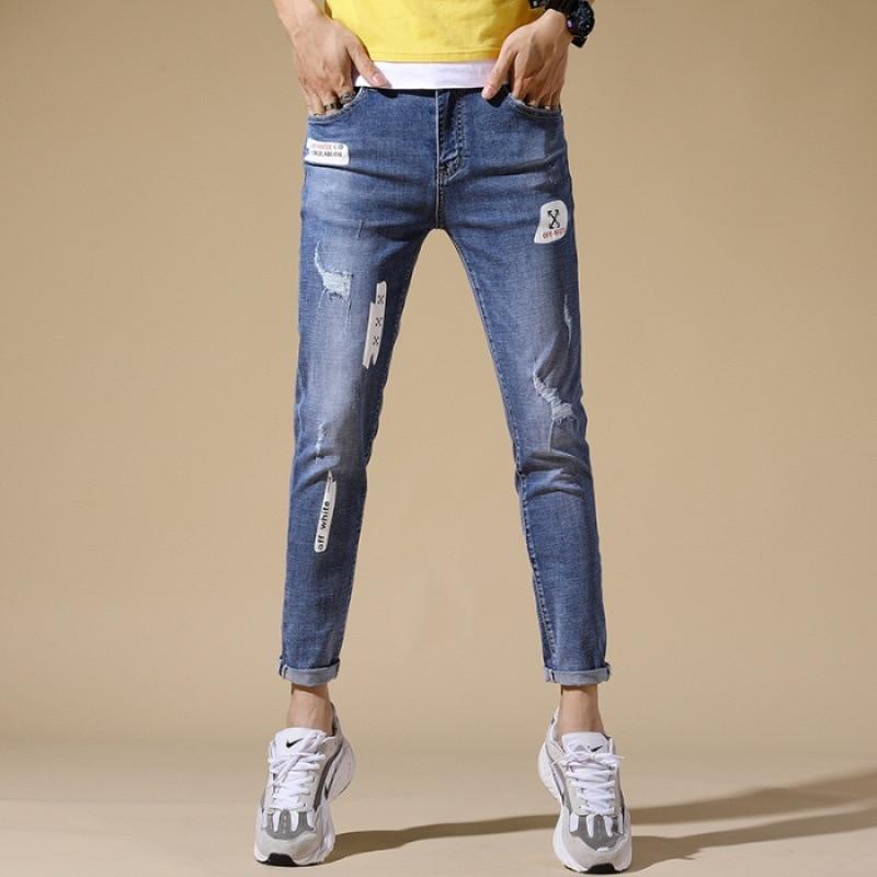 Summer Capri Pants Printed Fashion Thin Light Color Men's Jeans