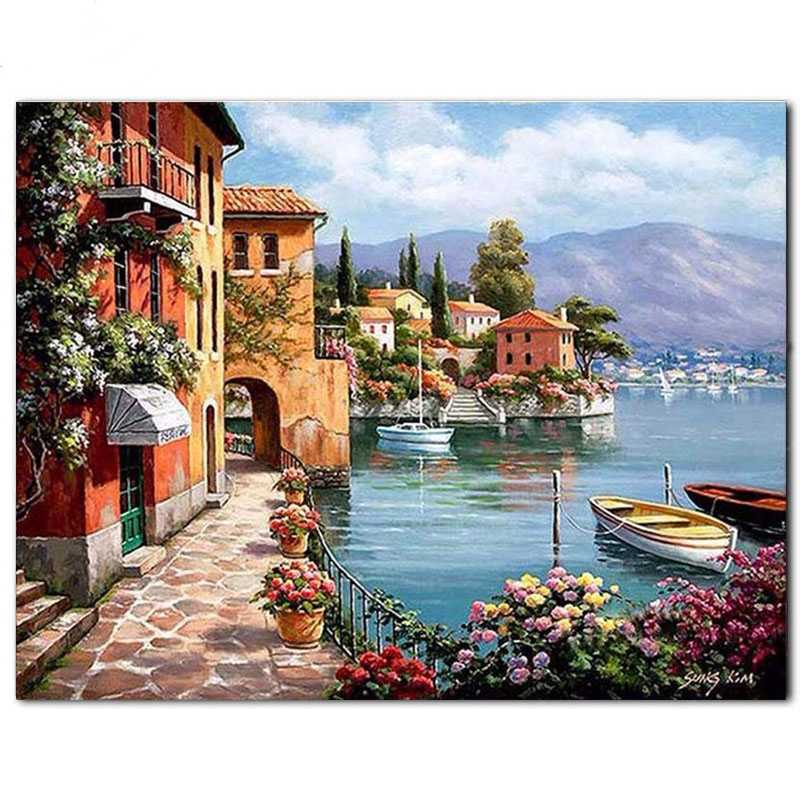 Penuh Bulat Square Diamond Bordir 5D DIY Diamond Lukisan Italia Cross Stitch Seascape 3D Mosaik Diamond Menikmati Pemandangan Kota Air