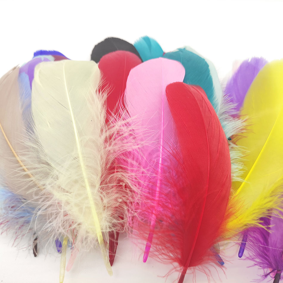 100pcs/Lot Colorful Party Feathers Craft Natural Goose Feather for DIY White Wedding Feathers for Jewelry Making Home Decoration