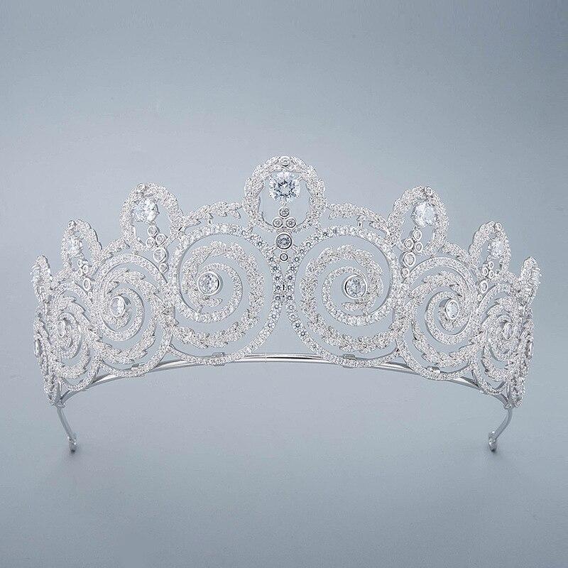 Luxe AAA Zirkoon Avondjurk Tiaras en Kronen Queen CZ Zirconia Diadeem Voor Vrouwen Bruiloft Haar Accessoires Bruids Sieraden-in Haarsieraden van Sieraden & accessoires op  Groep 1