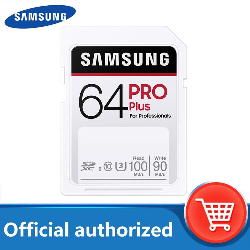 بطاقة سامسونج برو بلس SD 64GB بطاقة الذاكرة 32GB بطاقة فلاش جديدة 128GB 256GB فئة 10 U3 ل 1080p ثلاثية الأبعاد 4K كاميرا فيديو SDXC